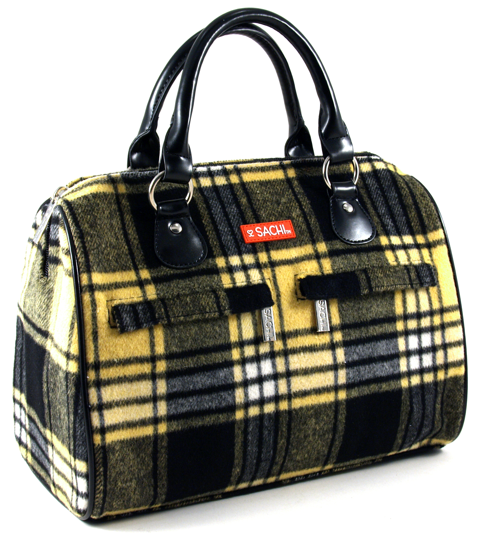 Sachi Woolies Yellow Plaid Insulated Lunch Tote