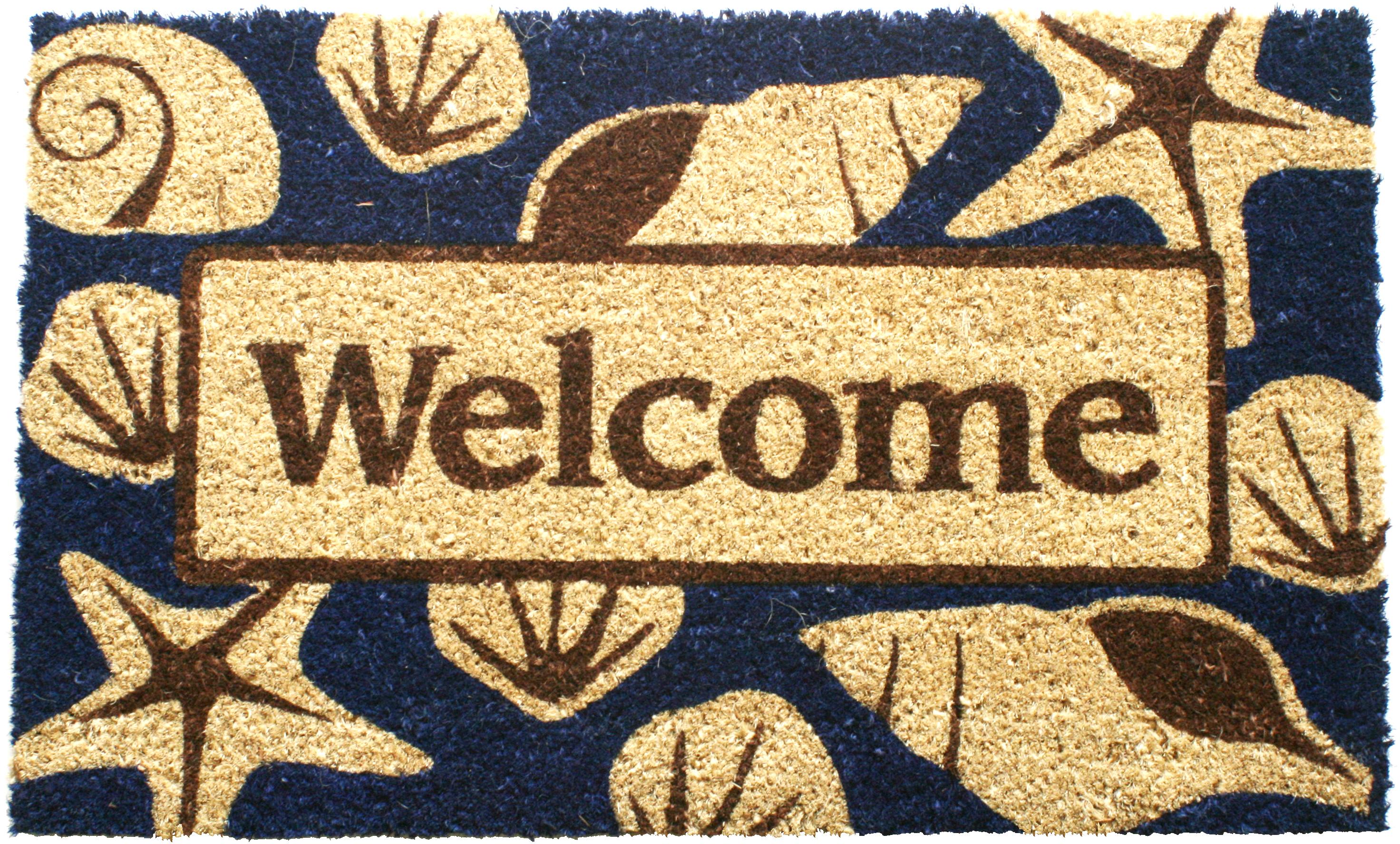 Entryways Beach Welcome Hand Woven Coir Beach Theme Doormat