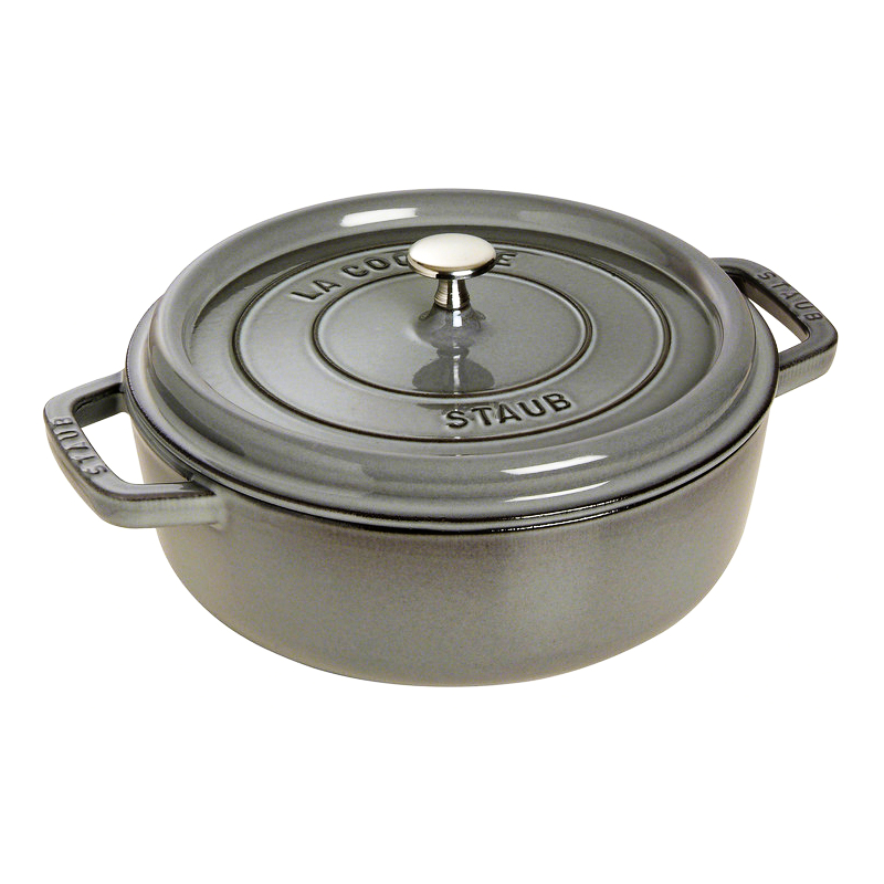 Staub Graphite Grey Enameled Cast Iron Wide Round Oven with Lid, 4 Quart