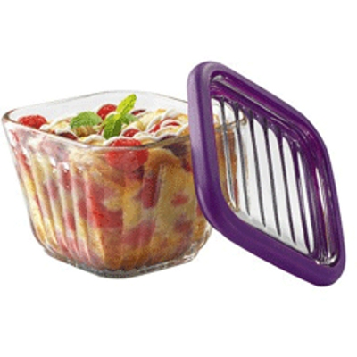 Anchor Hocking Bake 'N' Store Glass Baking Dish with Lid and Eggplant Silicone Gasket Sleeve, 2 Cup