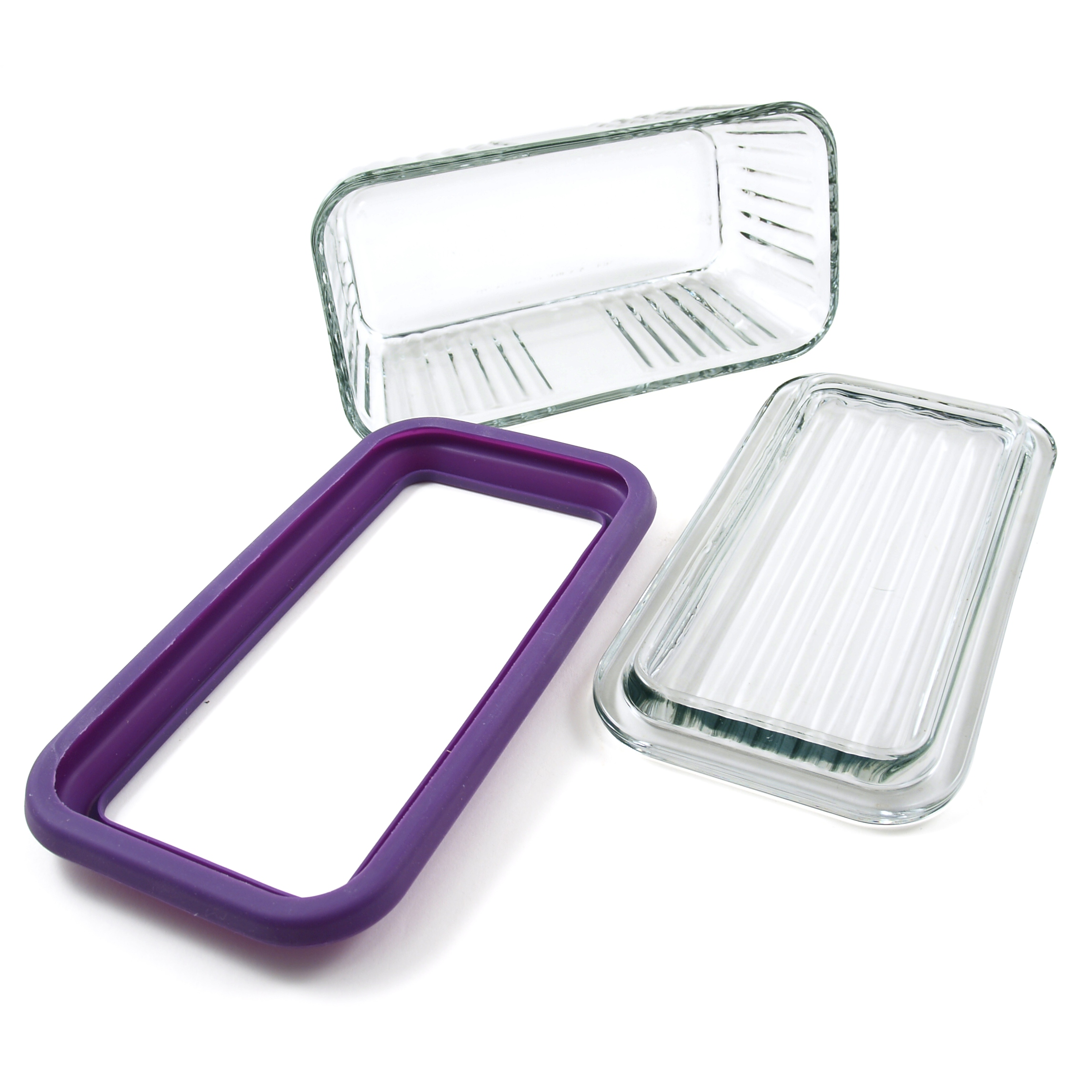 Anchor Hocking Bake 'N' Store Glass Baking Dish with Lid and Eggplant Silicone Gasket Sleeve, 5 Cup