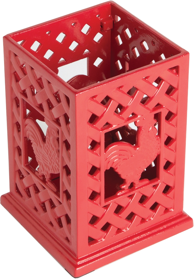Anchor Hocking Cast Iron Red Rooster Utensil Holder