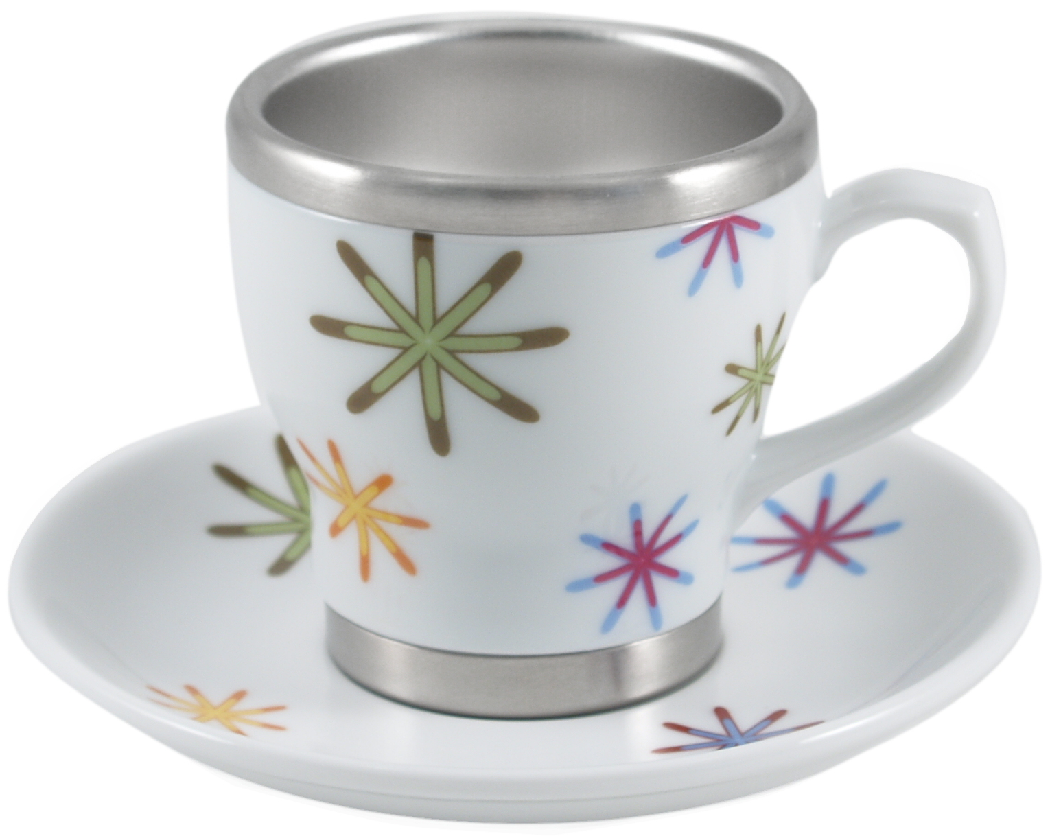 Pearl Cafe Stainless Steel and Porcelain Rainbow Stars Espresso Cup and Saucer Set, Service for 4