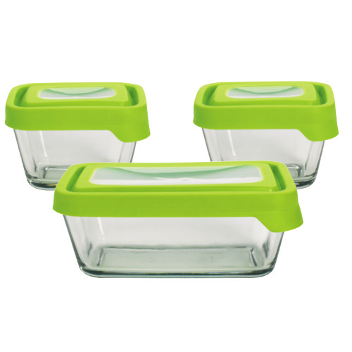 Anchor Hocking TrueSeal Assorted Rectangular Glass Food Storage Container with Airtight Green Lid, Set of 3