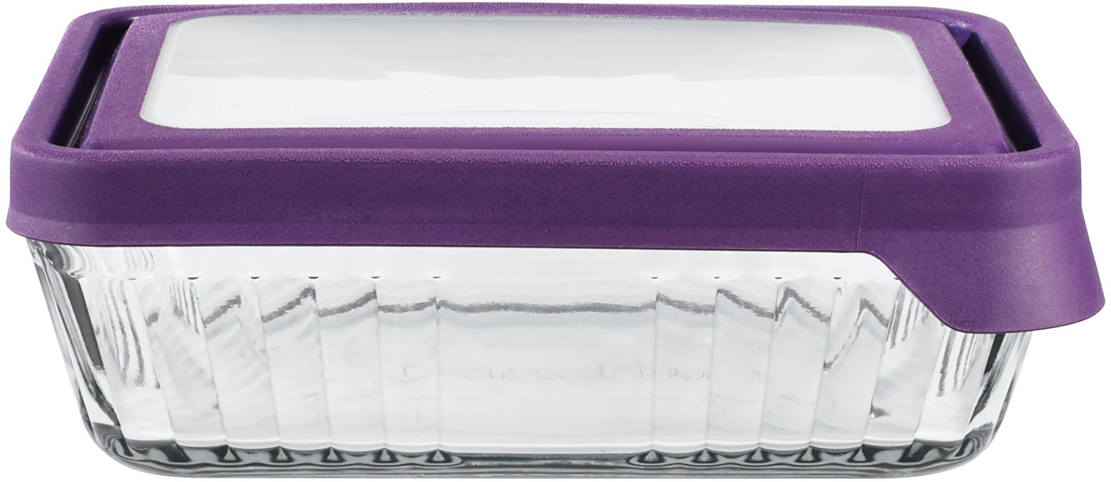 Anchor Hocking Rectangular Storage Container with Eggplant TrueSeal Lid, 11 Cup