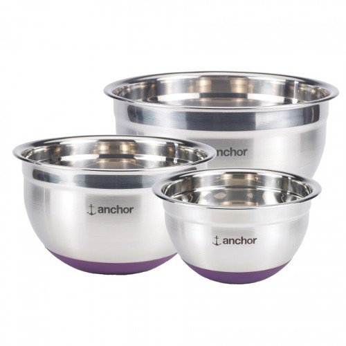 Anchor Hocking Stainless Steel Mixing Bowl with Eggplant Silicone Base, Set of 3