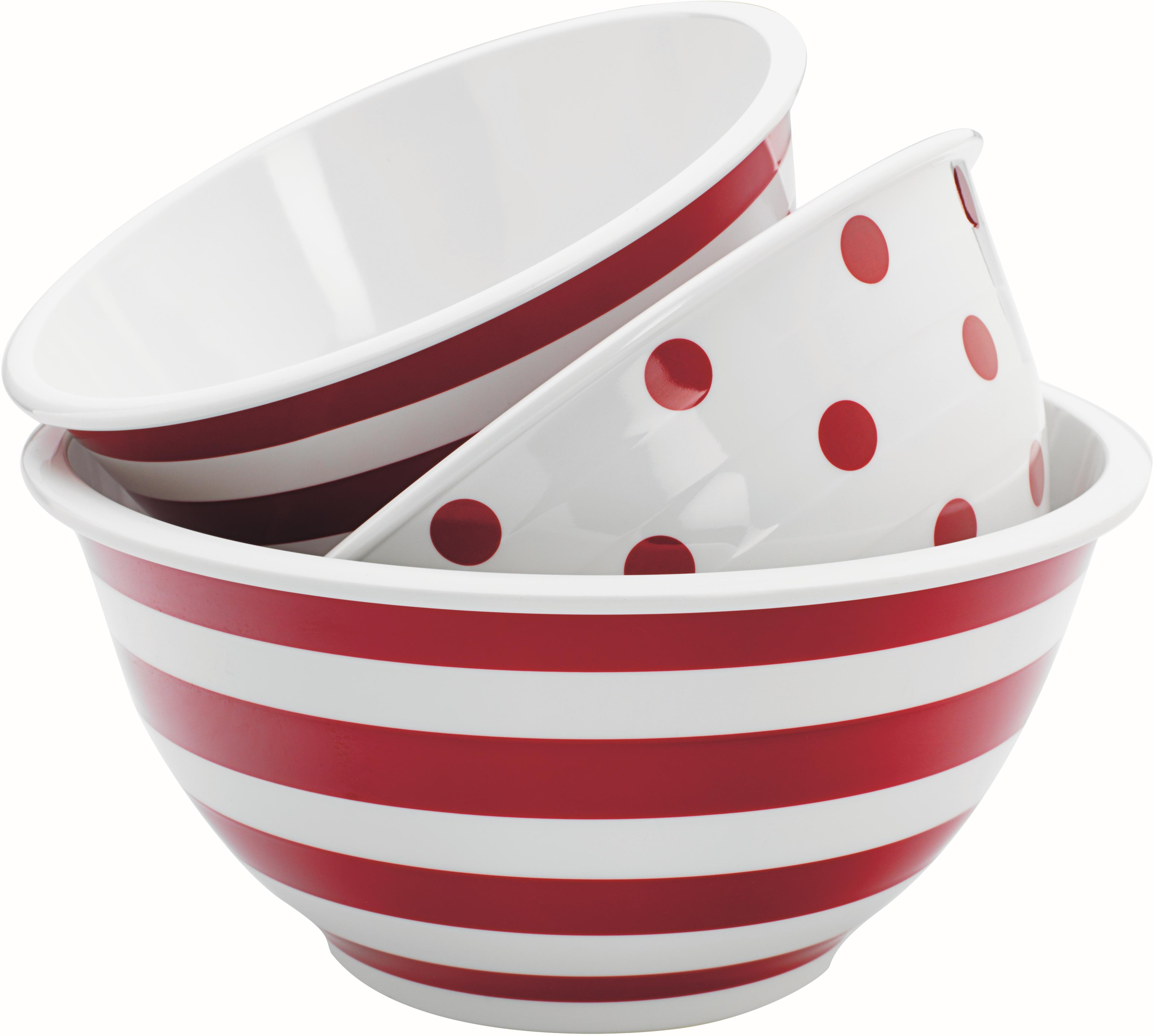Anchor Hocking 3 Piece Decorated Melamine Mixing Bowl Set