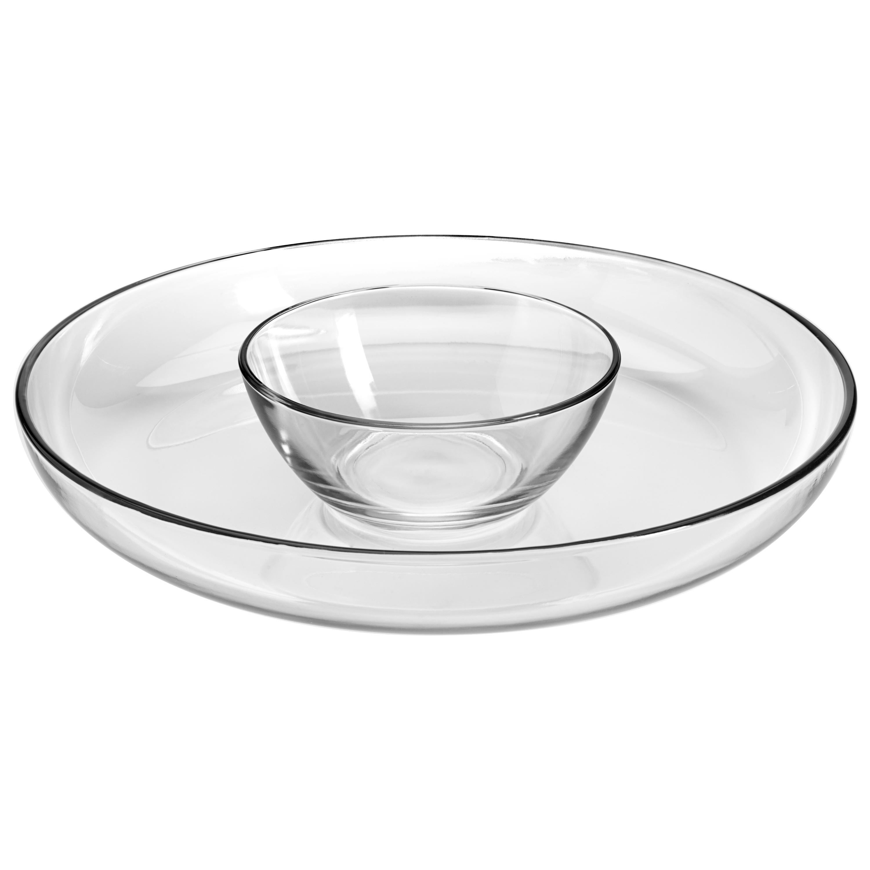 Anchor Hocking Presence Glass Deep Round Chip 'n Dip Set