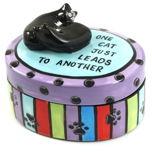 Our Name Is Mud Ceramic Cat Lover Jewelry Trinket Box