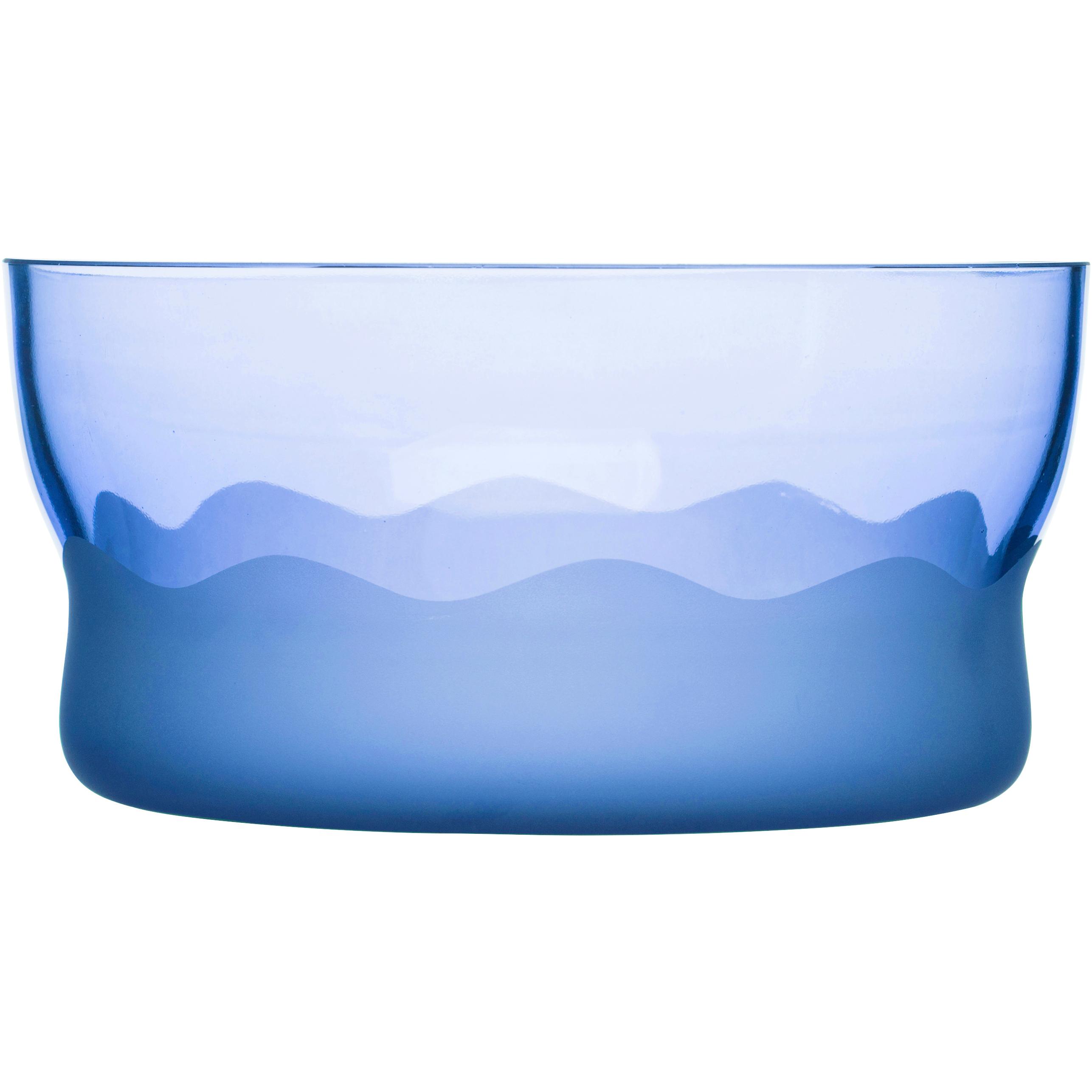 SEAglasbruk Aqua Wave Blue Glass Serving Bowl