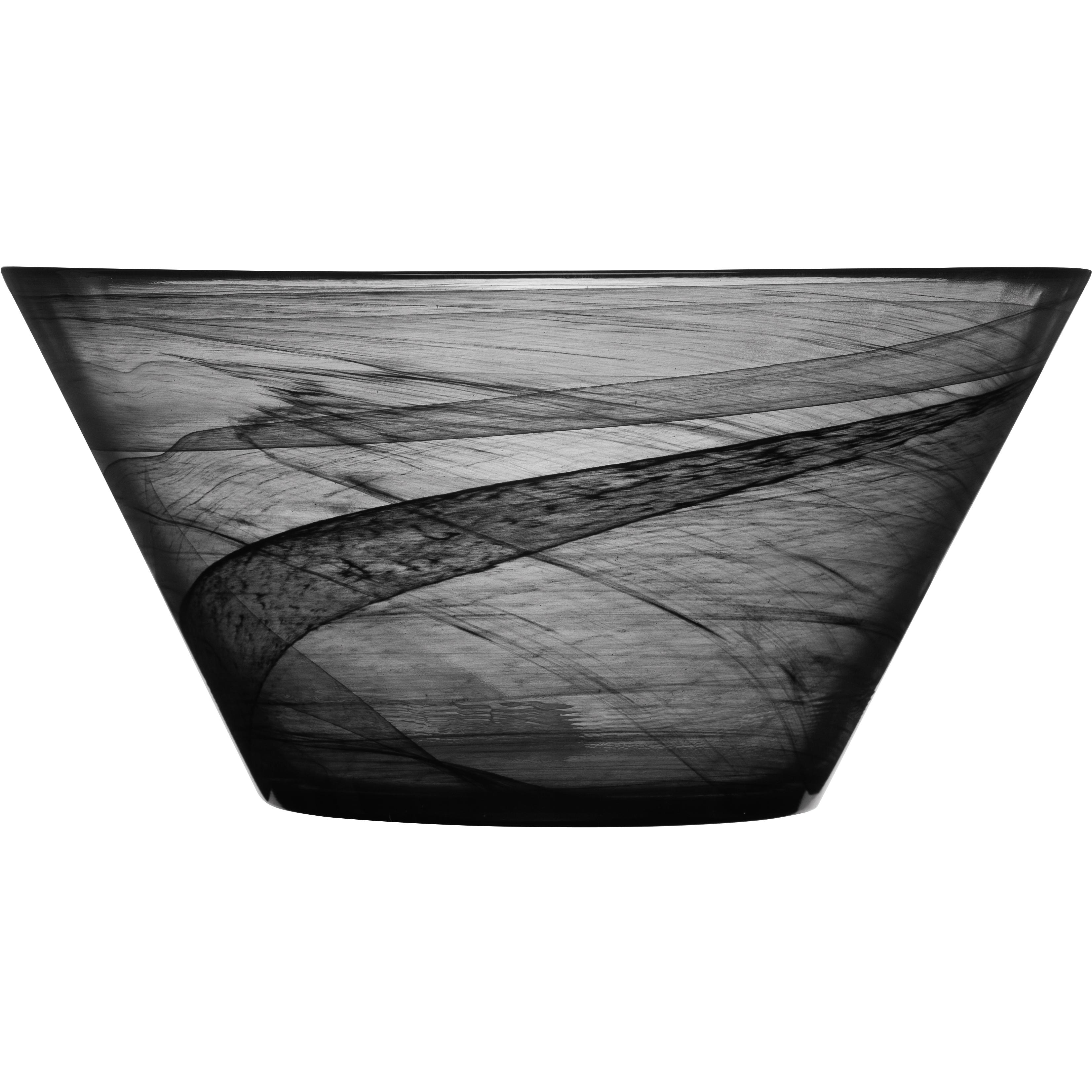 SEAglasbruk Black and White Black Glass Serving Bowl