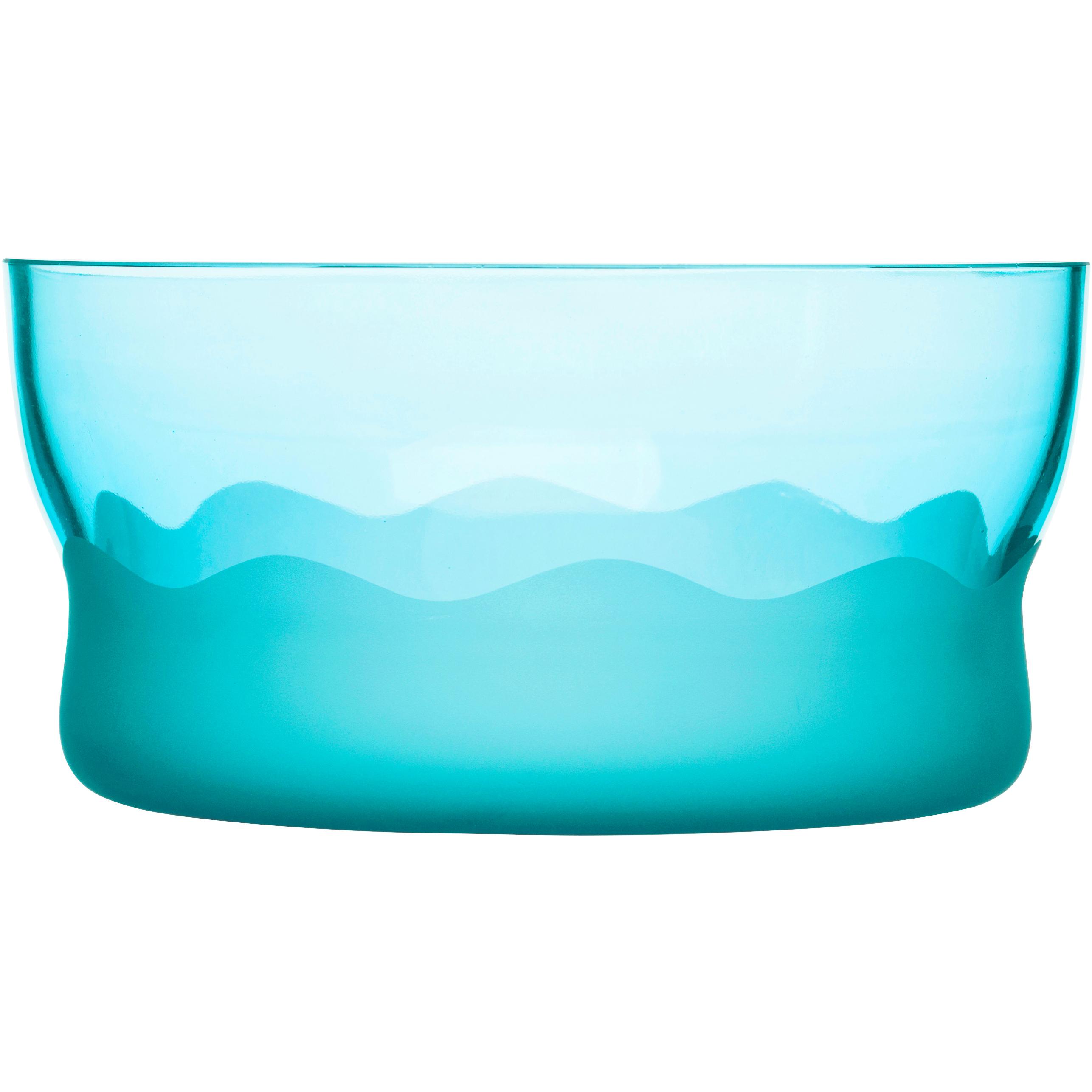 SEAglasbruk Aqua Wave Turquoise Glass Serving Bowl