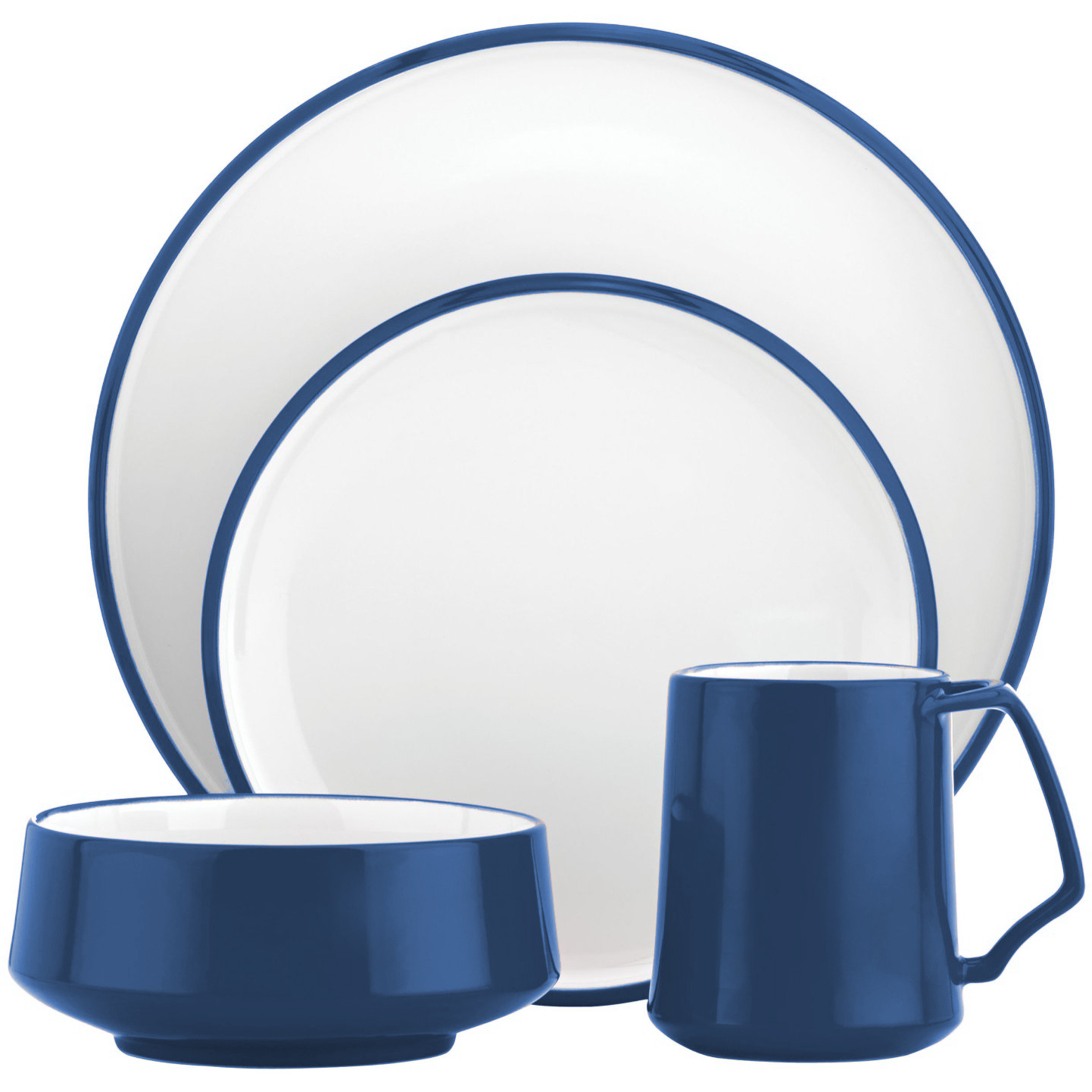 Dansk Kobenstyle 4 Piece Blue Stoneware Dishware Set, Service for 1