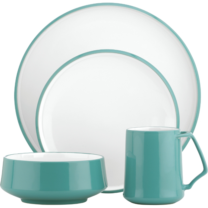 Dansk Kobenstyle 4 Piece Teal Stoneware Dishware Set, Service for 1