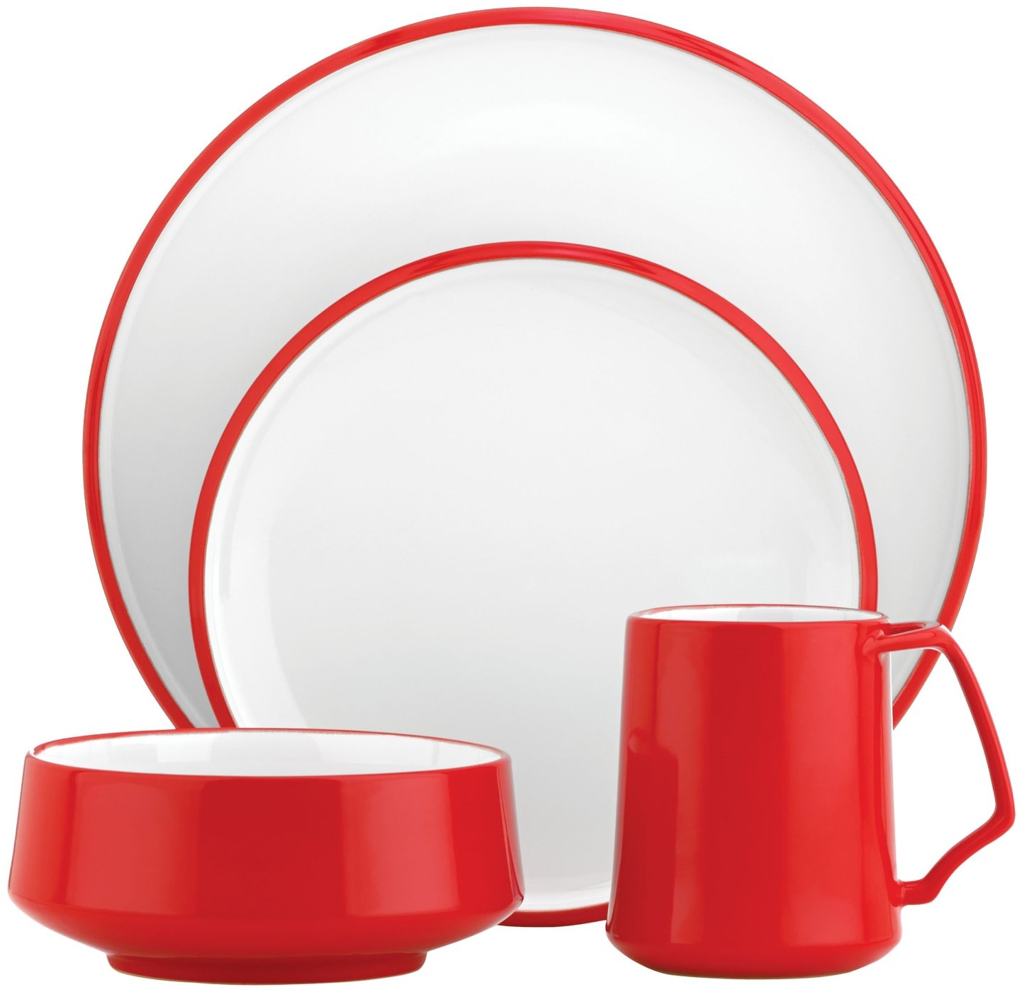 Dansk Kobenstyle 4 Piece Chili Red Stoneware Dishware Set, Service for 1
