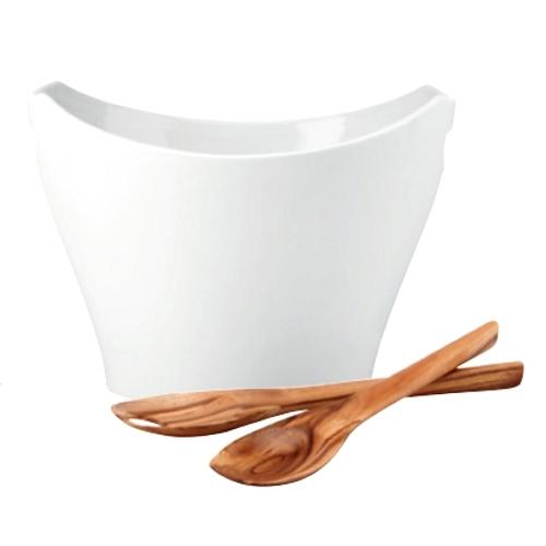 Dansk Classic Fjord White Porcelain 3 Piece Large Salad Set