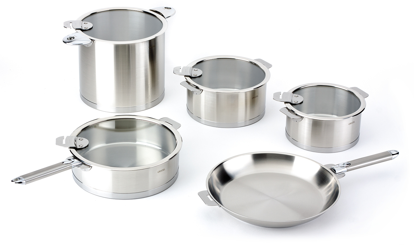 Cristel Strate 18/10 Stainless Steel 13 Piece Cookware Set with Removable Handles