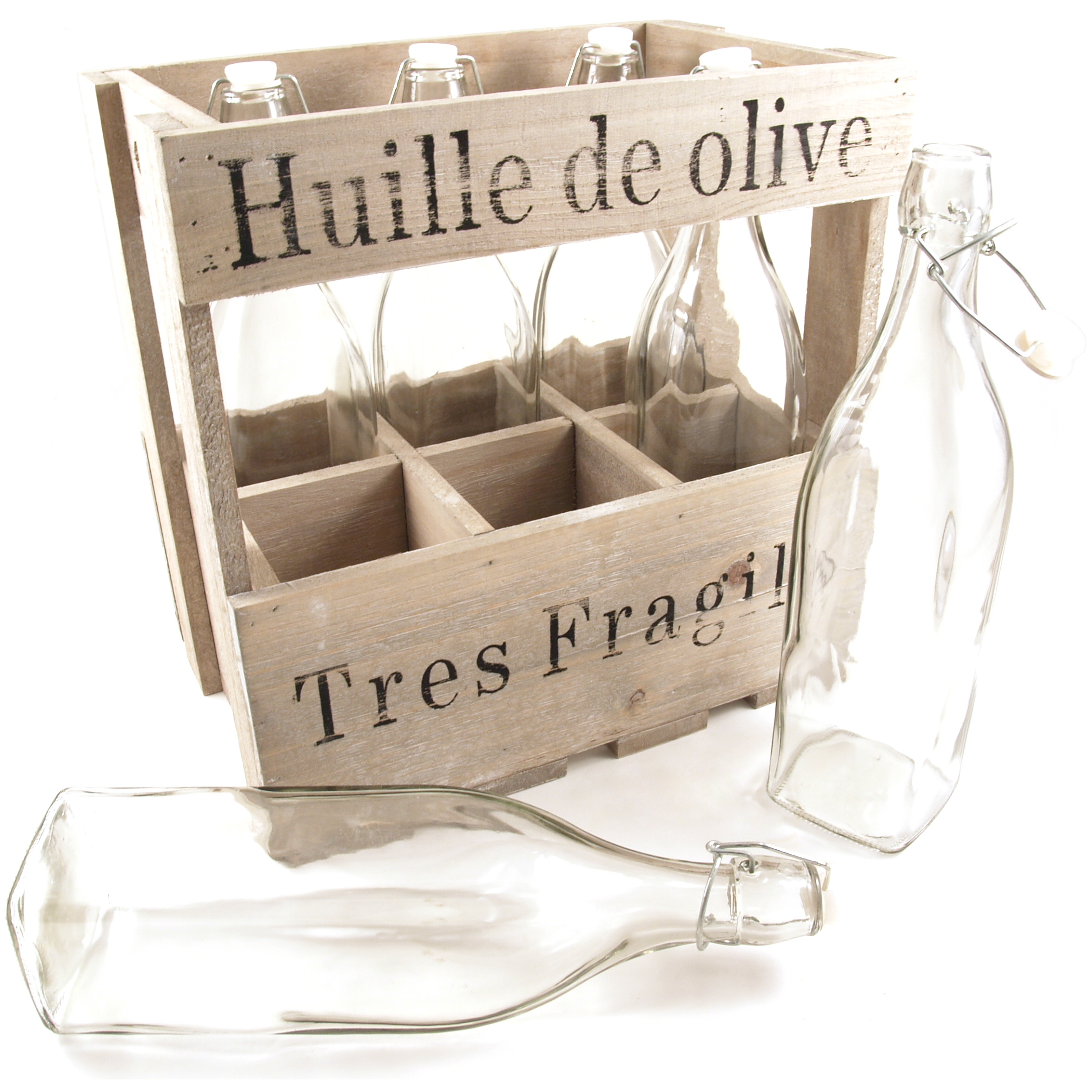 Huille De Olive Wood Crate with 6 Glass Bottles