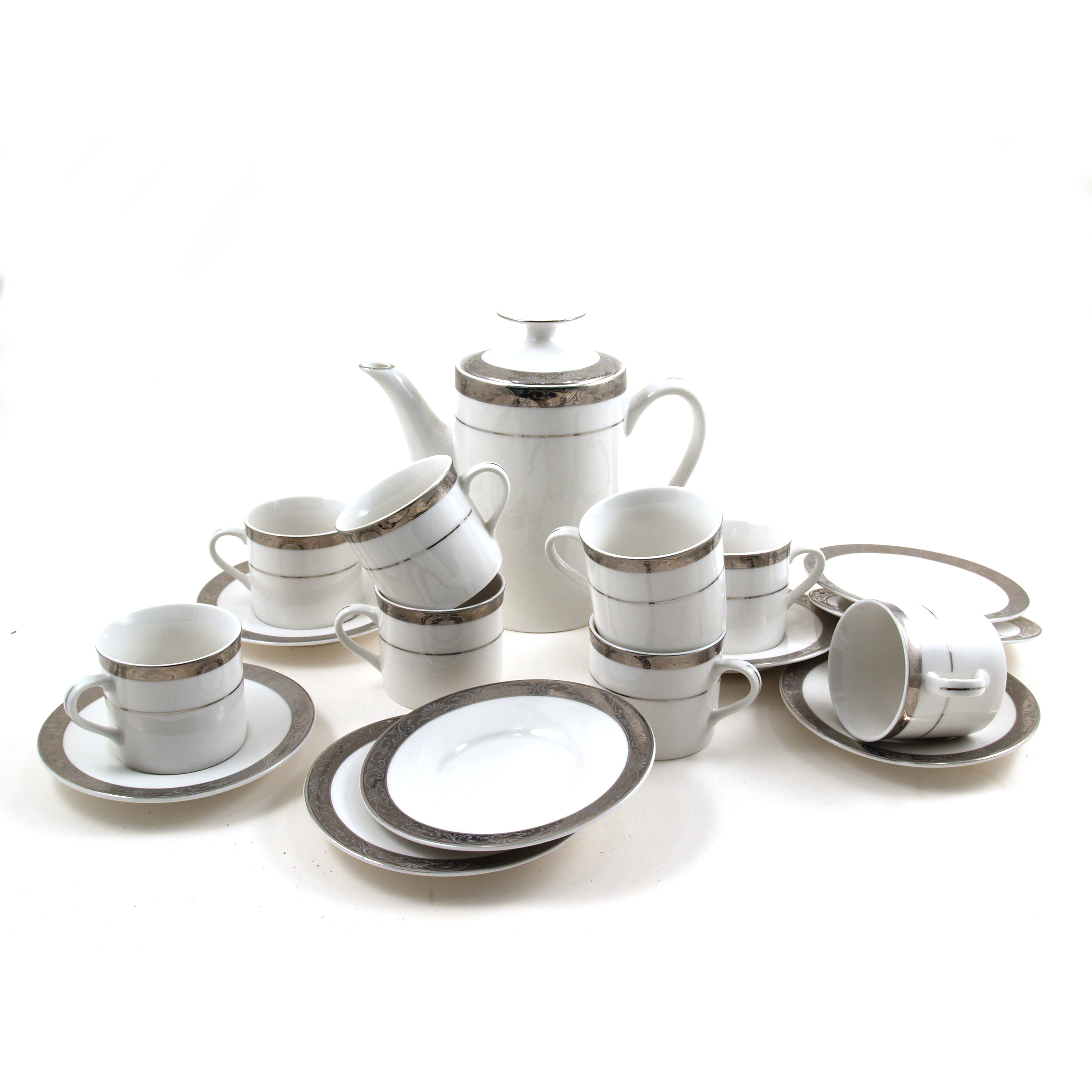 Lynns Oralia 18 Piece White and Silver Porcelain Espresso Set, Service for 8