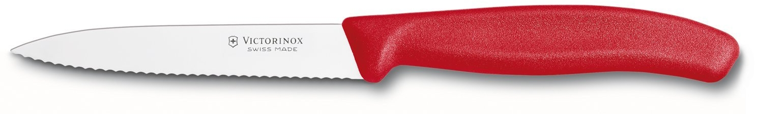 Victorinox Swiss Classic Serrated Stainless Steel Spear Tipped Paring Knife with Red Fibrox Handle, 4 Inch
