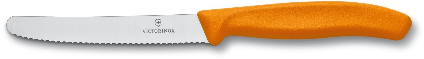 Victorinox Swiss Classic Round Tipped Stainless Steel Utility Knife with Orange Fibrox Handle, 4.5 Inch
