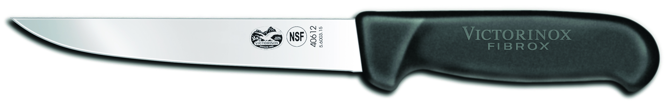 Victorinox Forschner Straight Extra Wide Stiff Bladed Stainless Steel Boning Knife with Black Fibrox Handle, 6 Inch