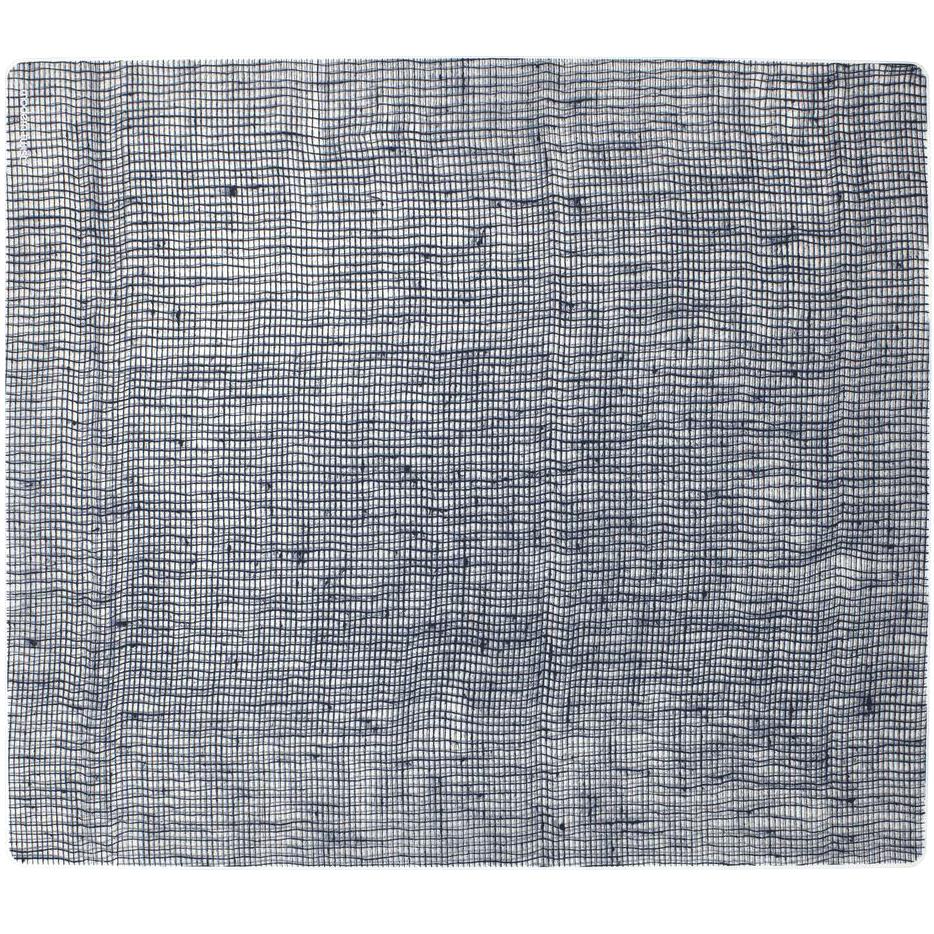 Modern Twist Linen Denim Blue Silicone Placemat, 14 x 16 Inch