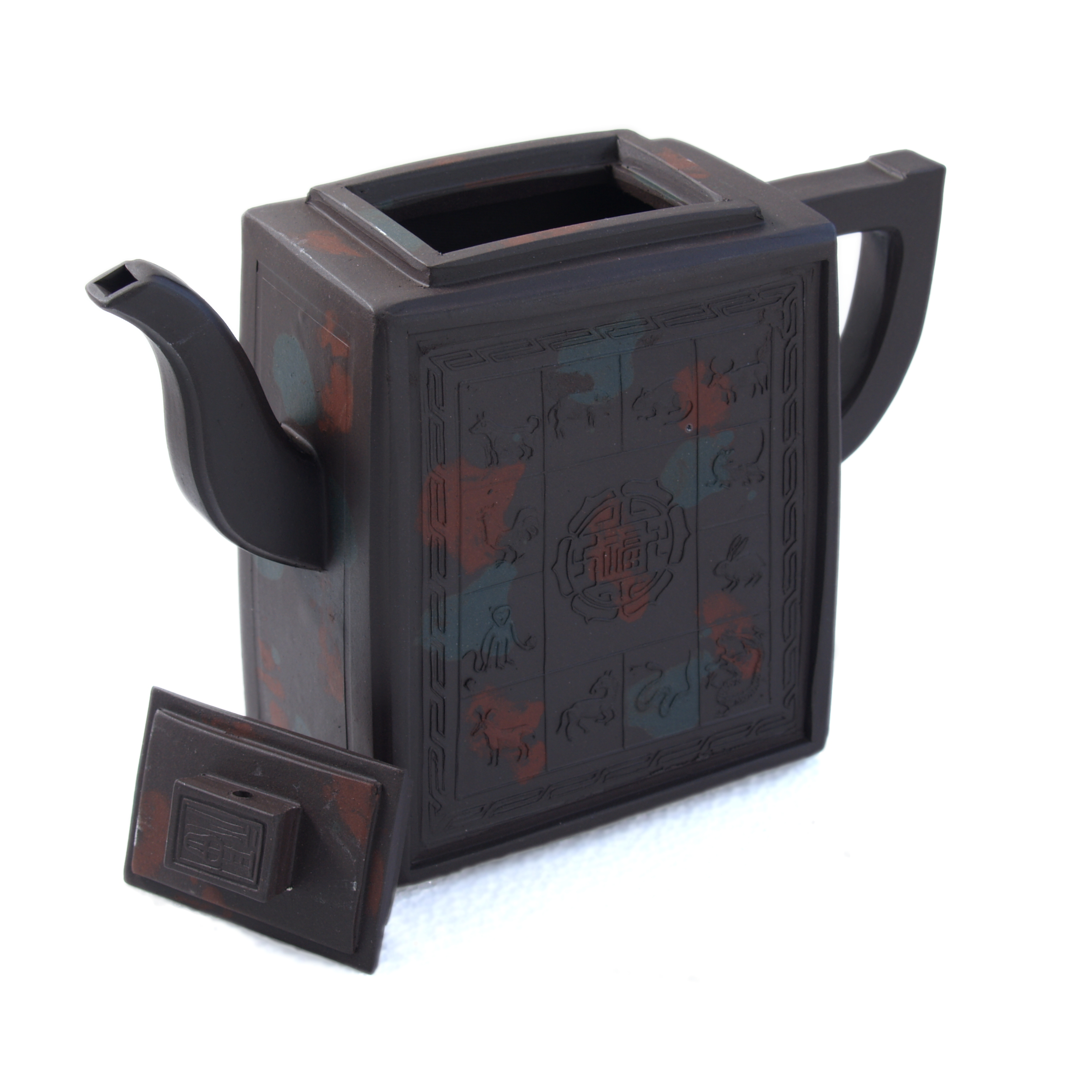 Yixing Zodiac Animal Squares Rectangular Teapot, 15 Ounce
