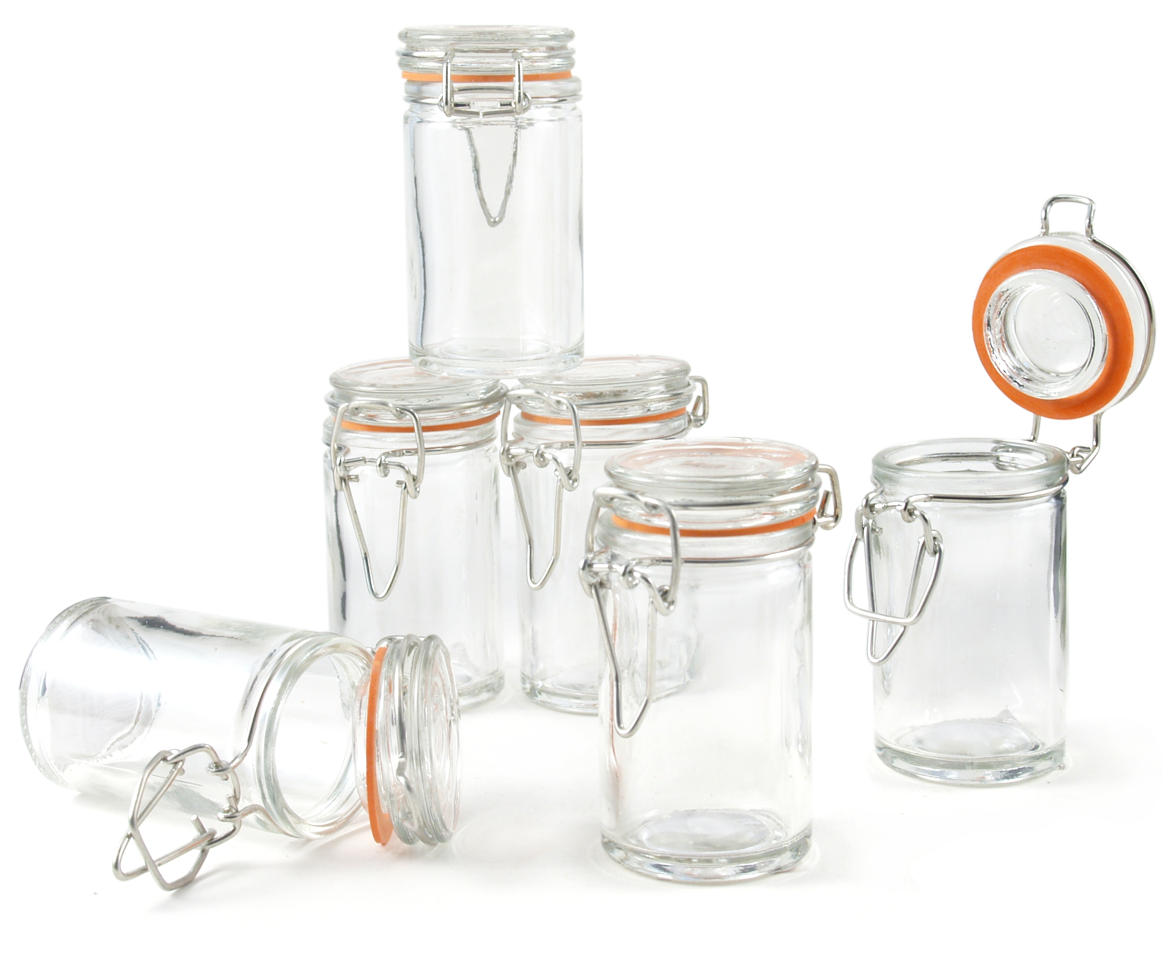 Grant Howard Round Glass Spice Jar, Set of 24