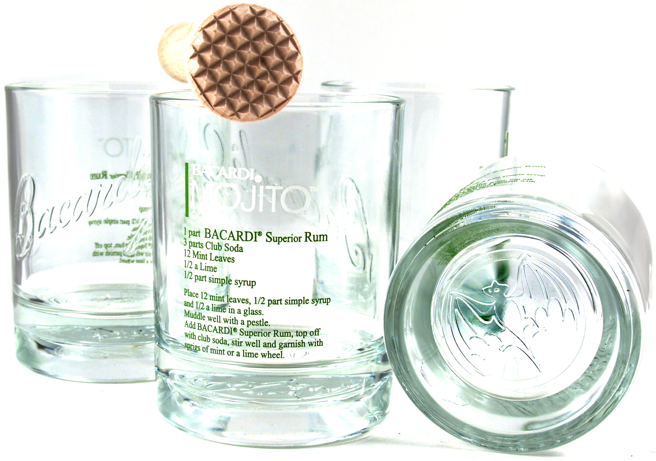 Bacardi Mojito 4 Piece 13 Ounce English Cocktail Glass Set with Free Wooden Muddler