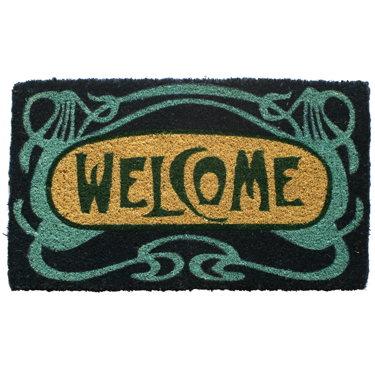 Entryways Art Deco Welcome Hand Woven Coir Doormat, 18 x 30 Inch
