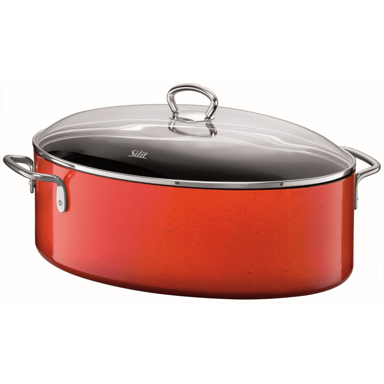 WMF Silit Passion 4 Energy Red Oval Enameled Steel Roasting Pan with Lid, 8.5 Quart