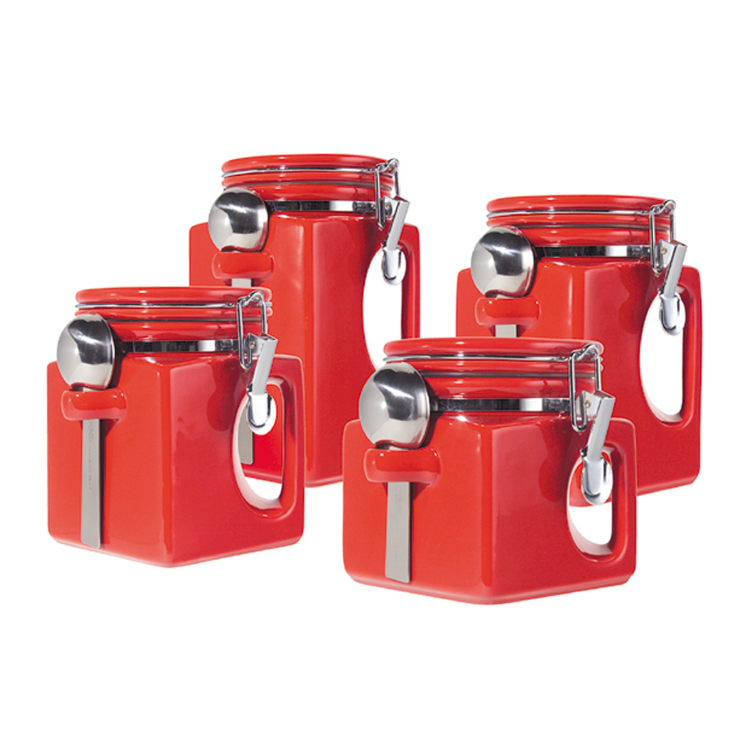 Oggi EZ Grip Red Ceramic Food Storage Canister Set