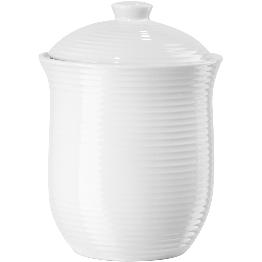 Oggi Medium White Ceramic Ribbed Food Storage Canister