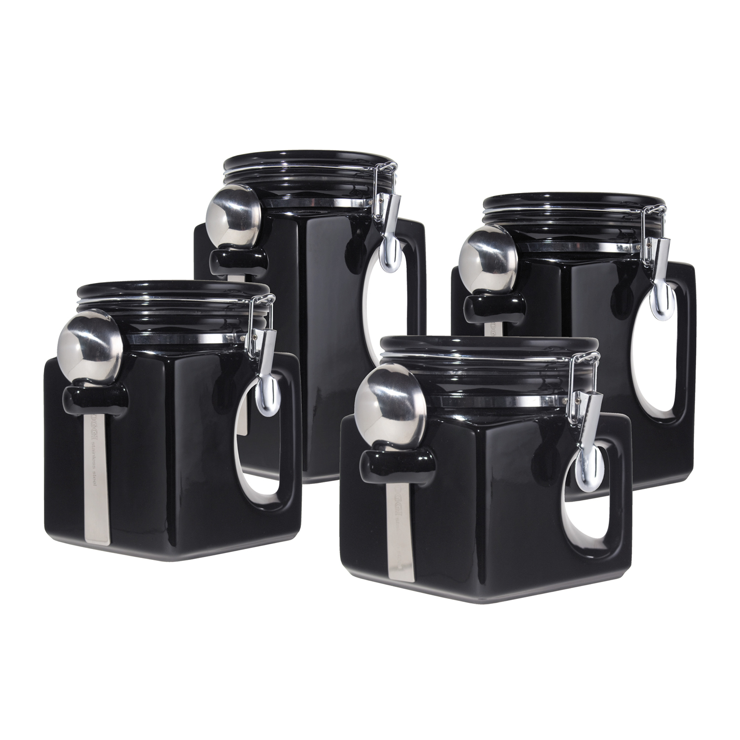 Oggi EZ Grip Black Ceramic Food Storage Canister Set