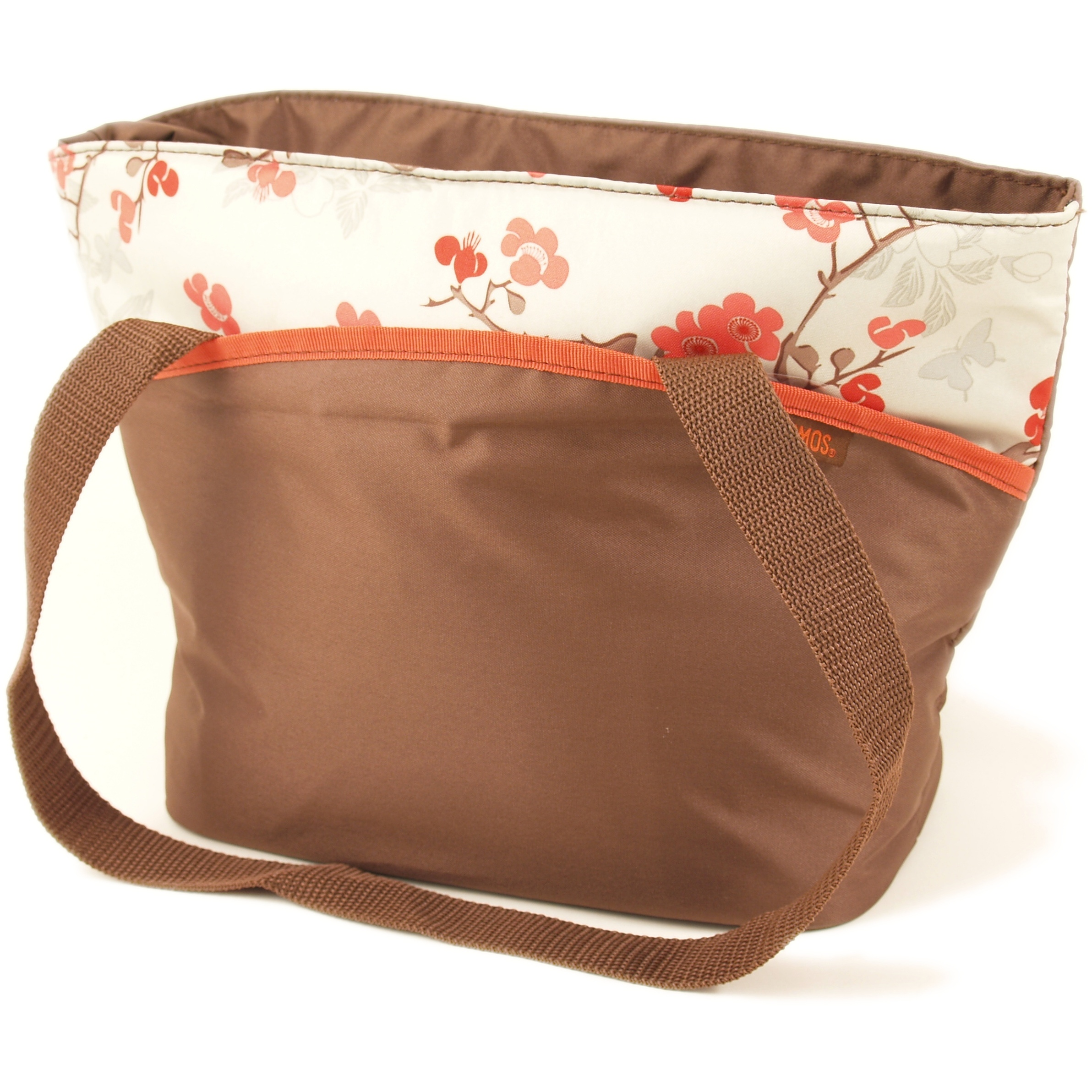 Thermos Raya Brown with Orange Flowers Insulated 9 Can Tote