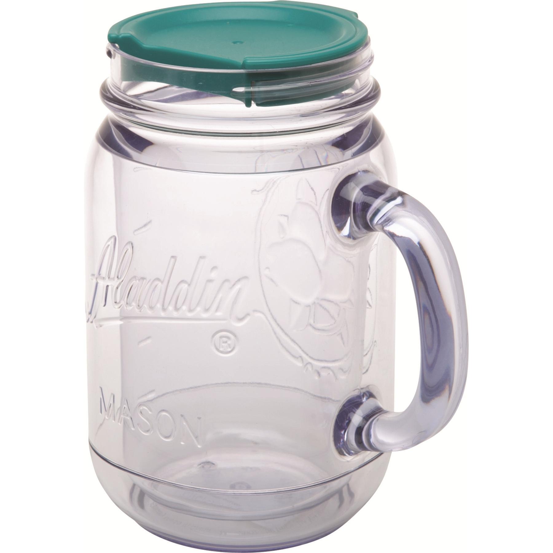 Aladdin Classic Sea Blue Insulated Acrylic Mason Jar Travel Mug, 20 Ounce