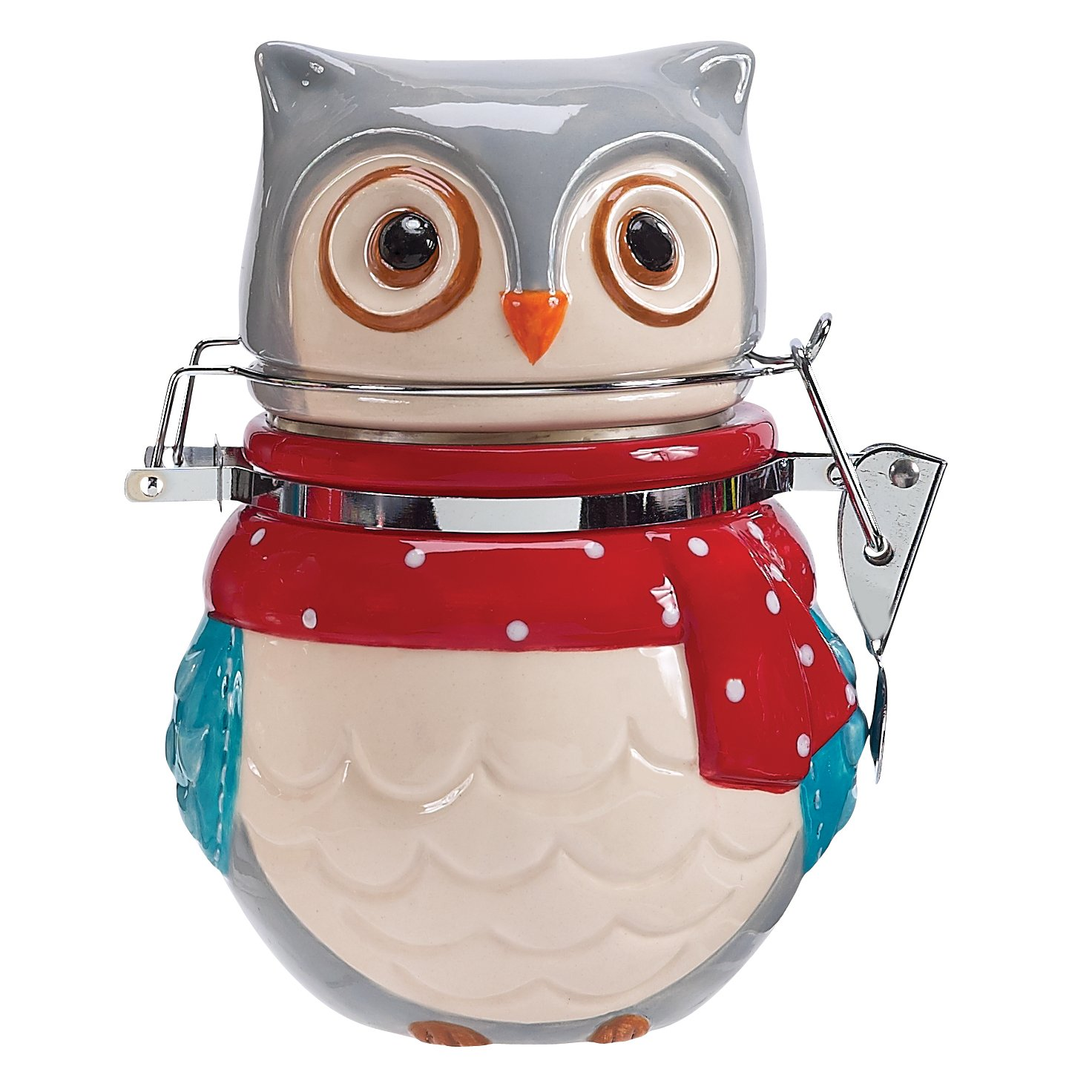 Boston Warehouse Snowy Owls Earthenware Hinged Jar