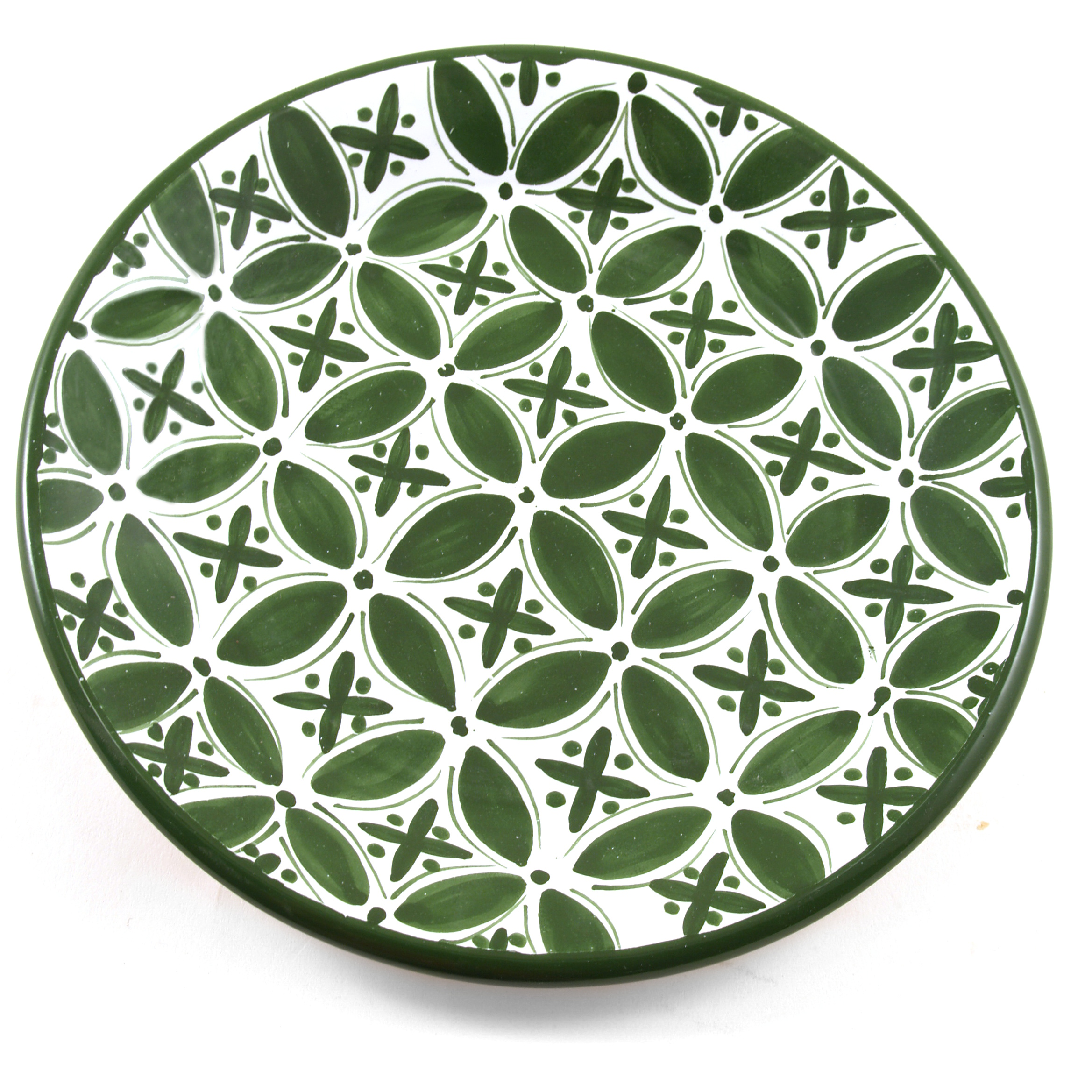 Sobremesa Fairtrade Fez Collection Handmade White and Green Ceramic Dinner Plate, Set of 4