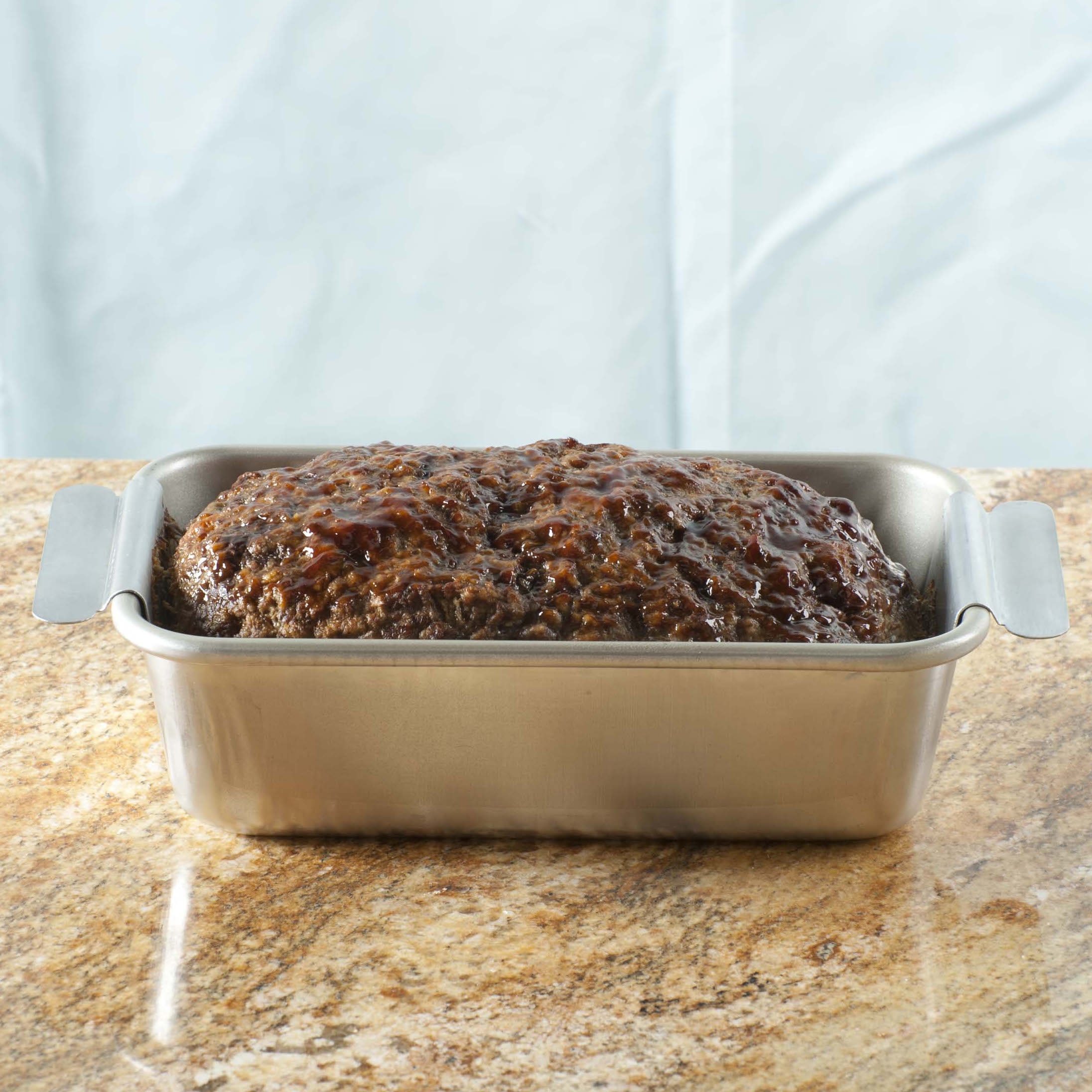 Nordic Ware Steel Meat Loaf Pan with Lifting Trivet, 10 x 3 Inch