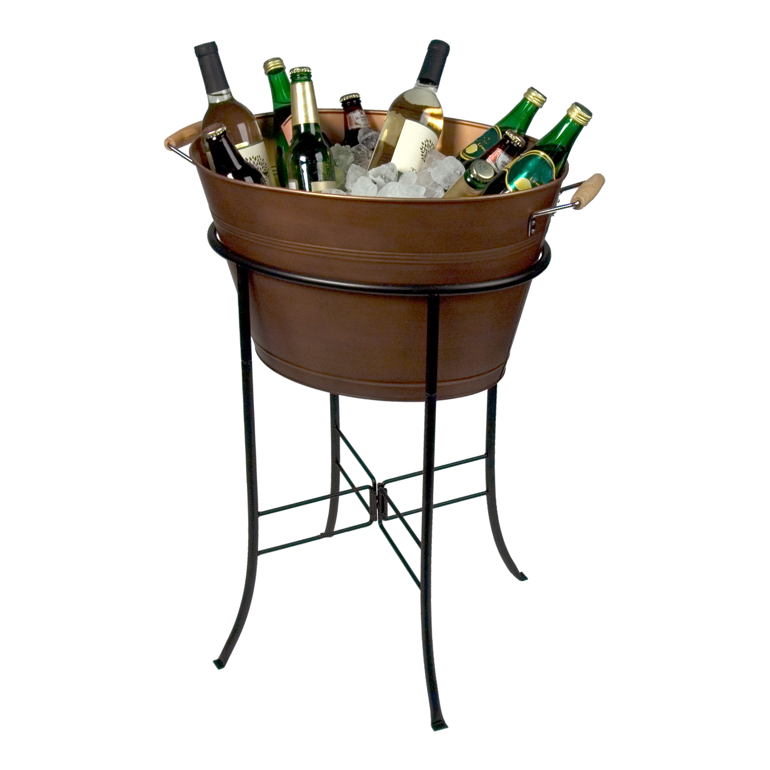Artland Oasis Distressed Antiqued Copper Finish Oval Party Tub with Stand