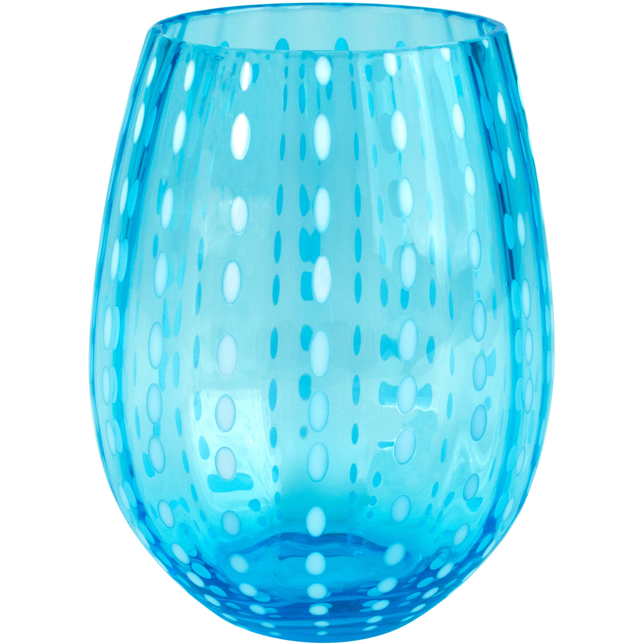 Artland Cambria Turquoise Stemless Tumbler Drinking Glass, 17 Ounce