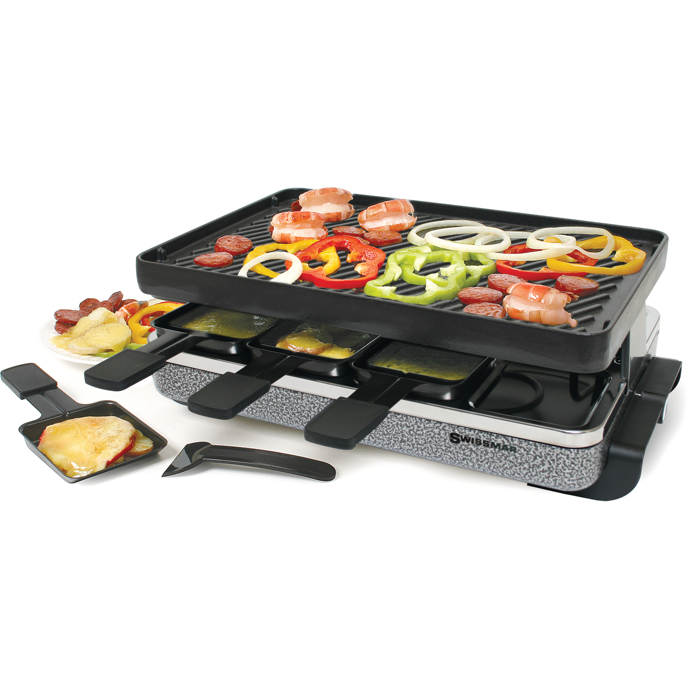 Swissmar Eiger Electric Gray Raclette Grill with Reversible Cast Iron Grill Plate