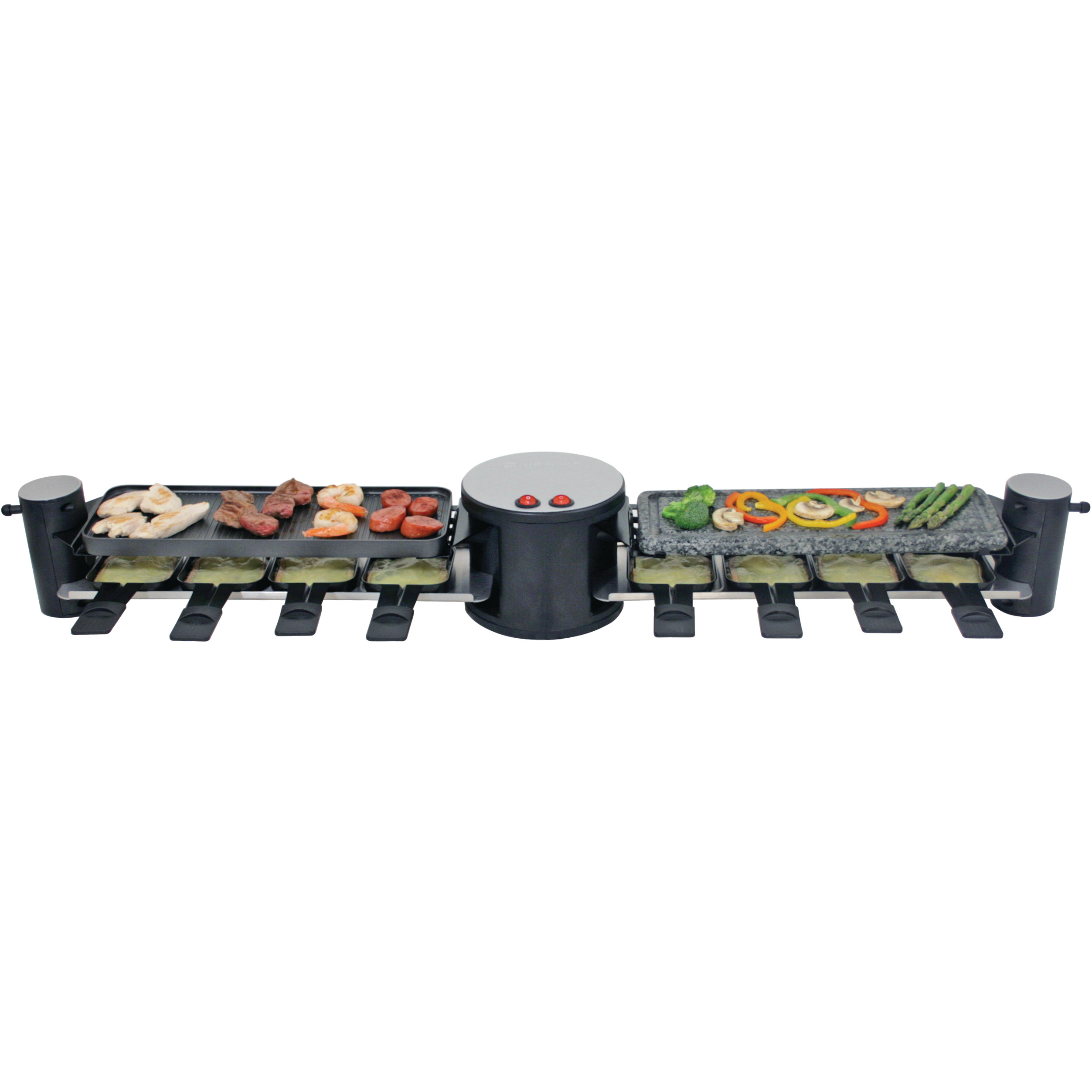 Swissmar Swivel 8 Person Black and Gray Electric Raclette Party Grill