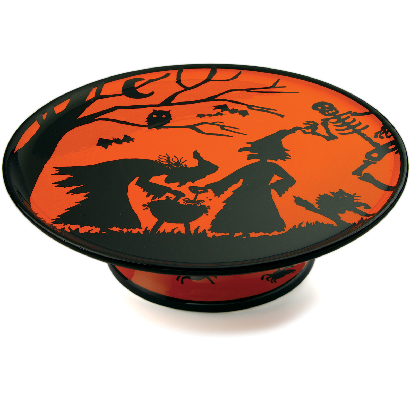 Omniware Black and Orange Halloween Potion No. 9 Earthenware Pedestal Server