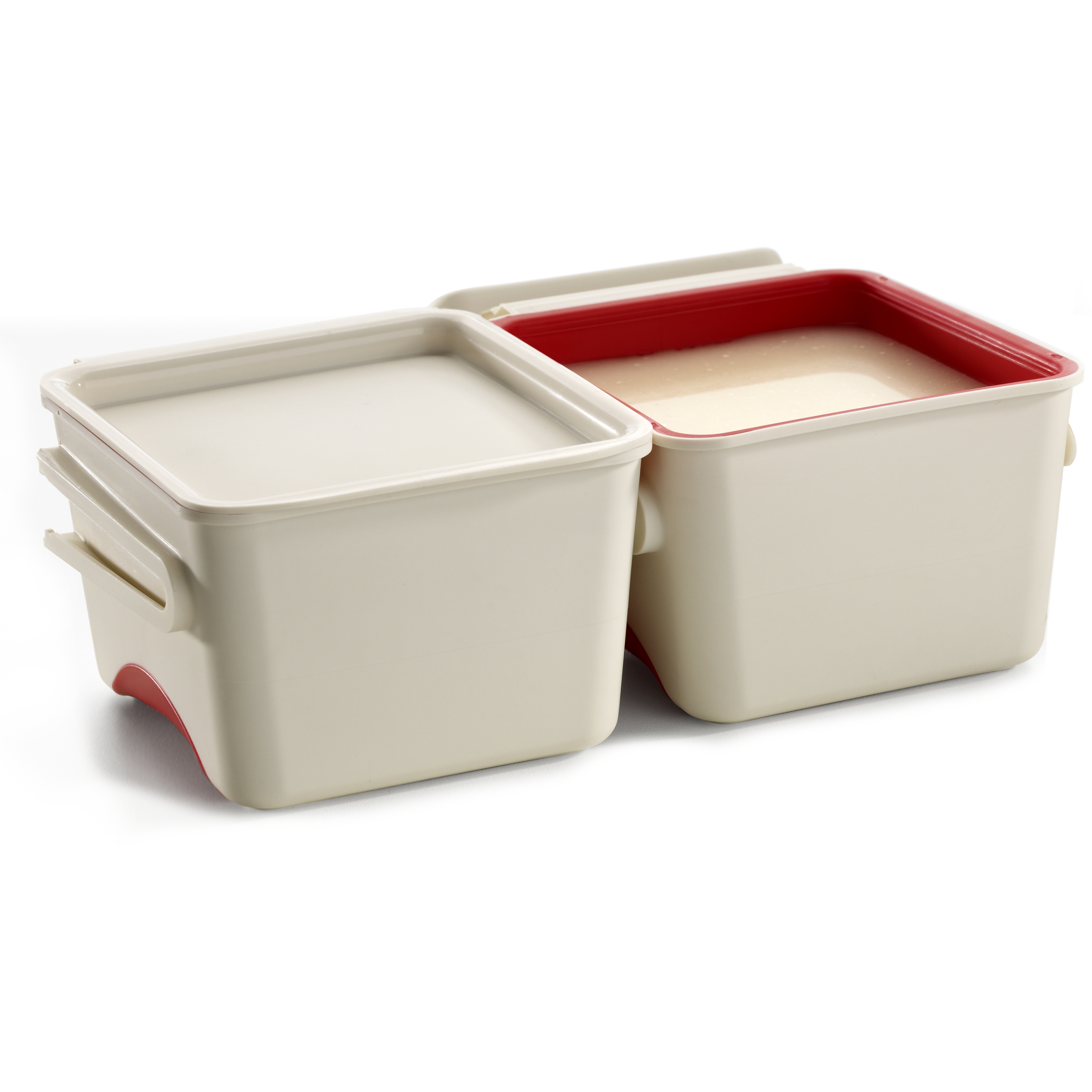Lekue Red Silicone and White Plastic 8.4 Ounce Leftover Container, Set of 2