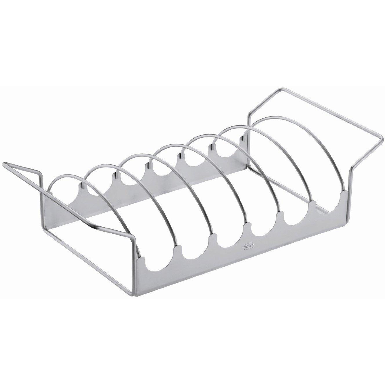 Rosle Stainless Steel Reversible Rib and Roast Rack, 17 Inch