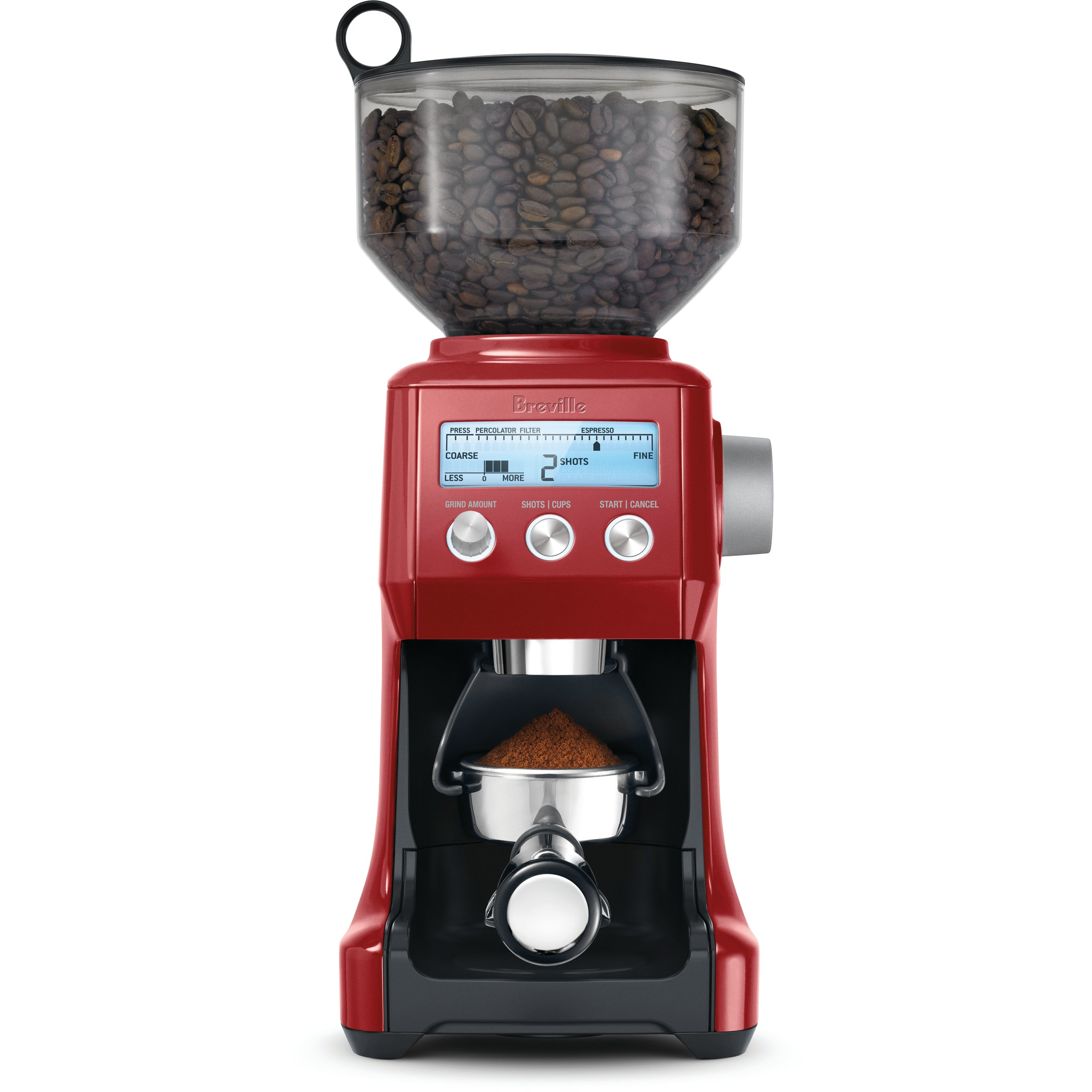 Breville BCG800CBXL Smart Grinder Cranberry Red Die-Cast Metal Conical Burr Coffee Grinder