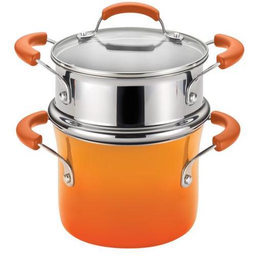 Rachael Ray Hard Enamel Orange Nonstick Covered Steamer Set, 3 Quart
