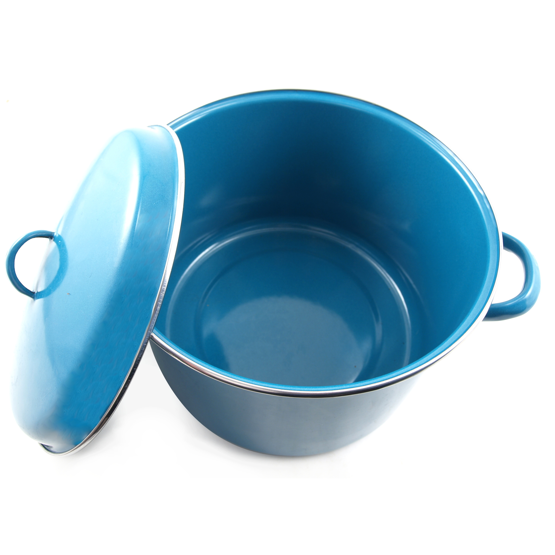 Cinsa Medium Gauge Teal Azul Enameled Steel Stock Pot, 9.25 Quart